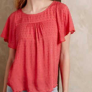 Maeve Anthropology Top Short Sleeve Coral Swiss 2